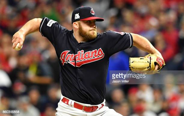 Cody Allen of the Cleveland Indians pitches in the eighth inning against the New York Yankees in Game Five of the American League Divisional Series...