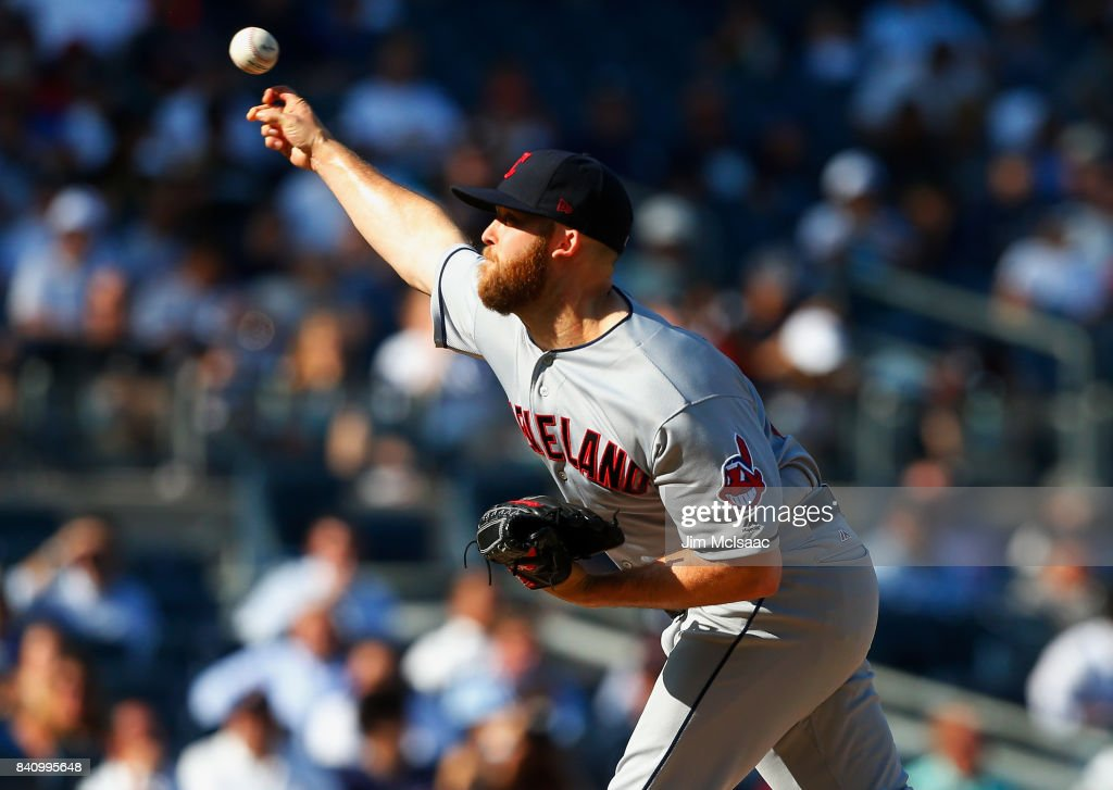 Cody Allen #37 of the Cleveland Indians pitches in the ninth inning against the New York Yankees in the first game of a doubleheader at Yankee Stadium on August 30, 2017 in the Bronx borough of New York City.
