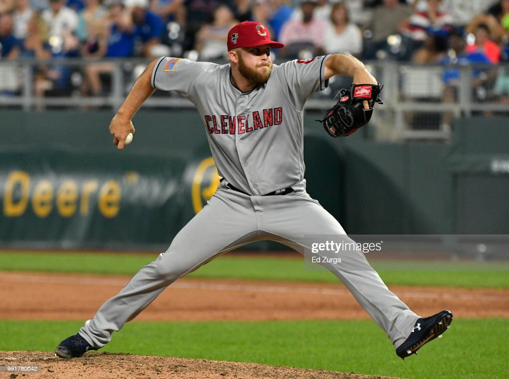 Cody Allen #37 of the Cleveland Indians pitches in the ninth inning against the Kansas City Royals at Kauffman Stadium on July 4, 2018 in Kansas City, Missouri.