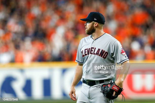 Cody Allen of the Cleveland Indians reacts after allowing a solo home run to Martin Maldonado of the Houston Astros in the seventh inning during Game...
