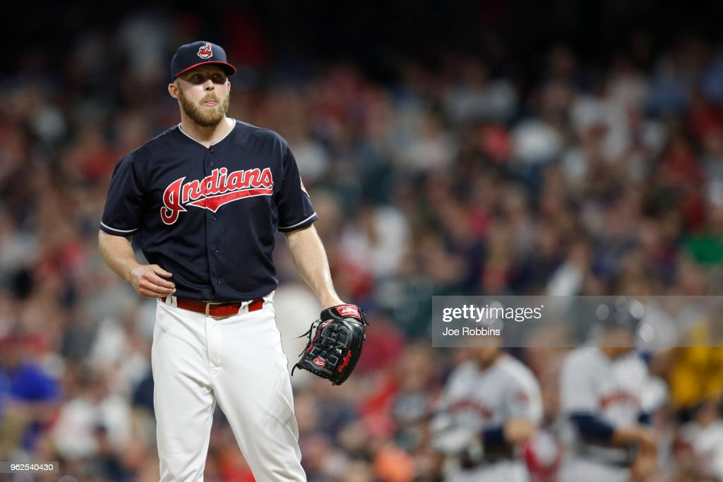 Cody Allen #37 of the Cleveland Indians reacts after walking in a run in the eighth inning against the Houston Astros at Progressive Field on May 25, 2018 in Cleveland, Ohio.
