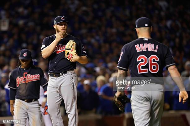 Cody Allen of the Cleveland Indians steps off the mound in the ninth inning against the Chicago Cubs in Game Three of the 2016 World Series at...