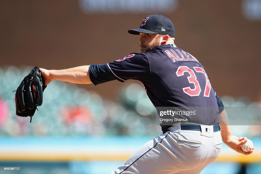 Cody Allen #37 of the Cleveland Indians throws a ninth inning pitch while playing the Detroit Tigers at Comerica Park on May 16, 2018 in Detroit, Michigan.