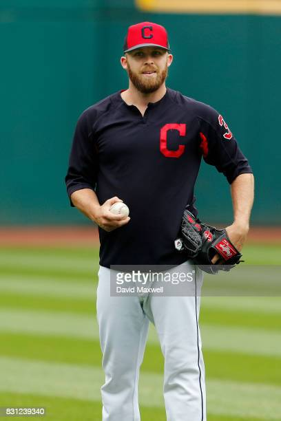 Cody Allen of the Cleveland Indians warms up before the game against the New York Yankees at Progressive Field on August 6 2017 in Cleveland Ohio The...