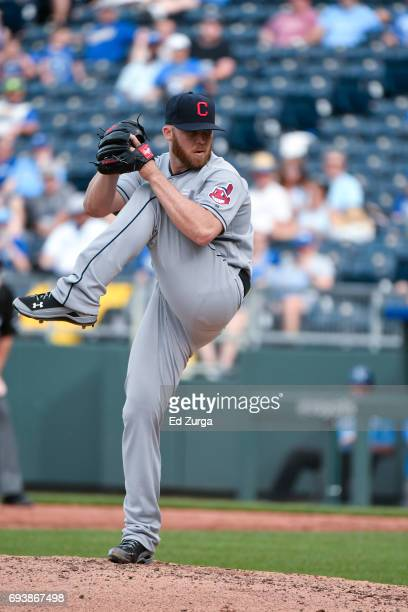 Cody Allen of the Cleveland Indiansthrows against the Kansas City Royals at Kauffman Stadium on June 4 2017 in Kansas City Missouri