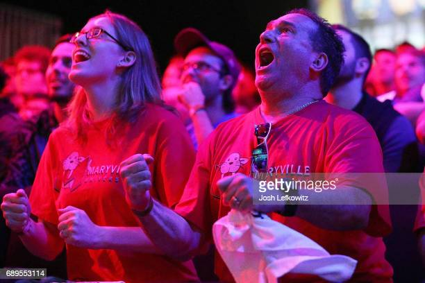 Cody Altman's father celebrates his son Cody and Maryville University in the League of Legends College Championship at the NA LCS Studio at Riot...