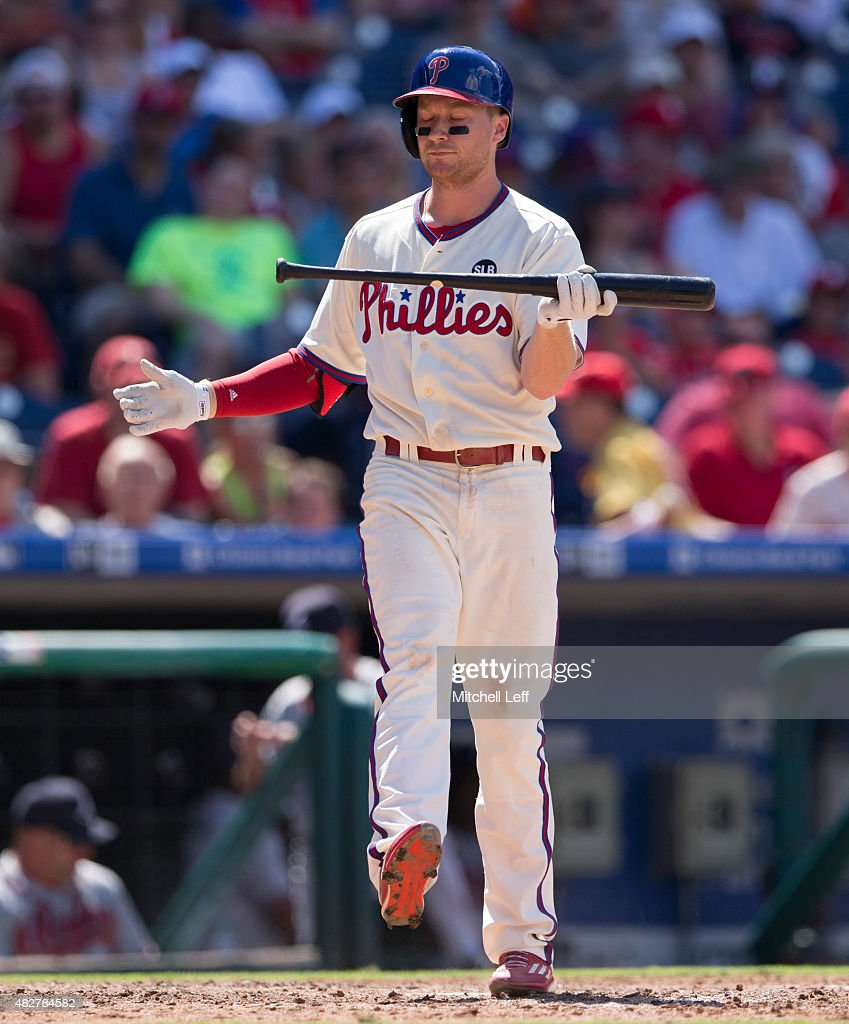 Cody Asche #25 of the Philadelphia Phillies reacts after a strike out in the bottom of the sixth inning against the Atlanta Braves on August 2, 2015 at the Citizens Bank Park in Philadelphia, Pennsylvania. The Braves defeated the Phillies 6-2.