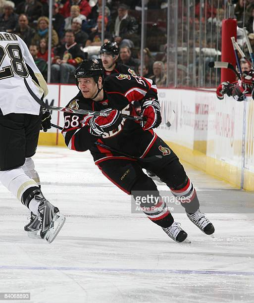 Cody Bass of the Ottawa Senators skates against the Pittsburgh Penguins at Scotiabank Place on December 6, 2008 in Ottawa, Ontario, Canada.