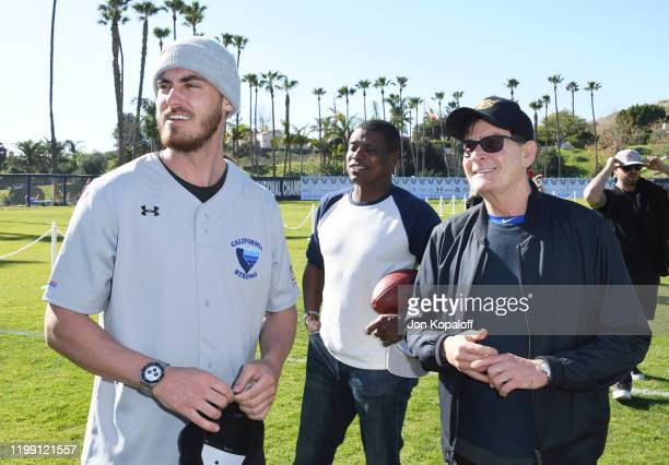 Cody Bellinger and Charlie Sheen attend California Strong Celebrity Softball Game at Pepperdine University Baseball Field on January 12 2020 in...