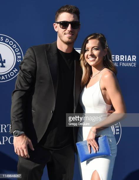 Cody Bellinger and Sabrina DenHamm arrive at the 5th Annual Blue Diamond Foundation at Dodger Stadium on June 12, 2019 in Los Angeles, California.