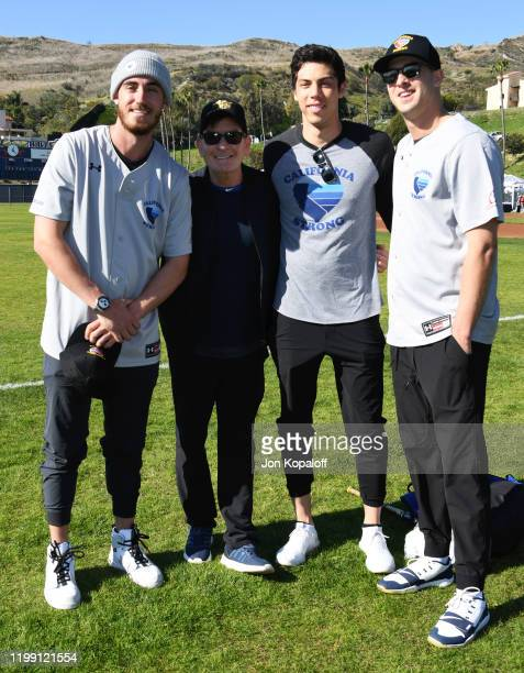 Cody Bellinger, Charlie Sheen, Christian Yelich and Jared Goff attend California Strong Celebrity Softball Game at Pepperdine University Baseball...