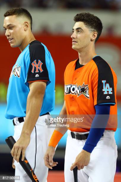 Cody Bellinger of the Los Angeles Dodgers and Aaron Judge of the New York Yankees looks on prior to the 2017 TMobile Home Run Derby at Marlins Park...