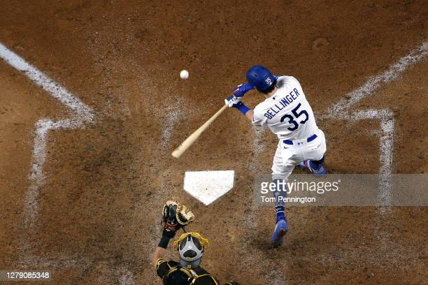 Cody Bellinger of the Los Angeles Dodgers at bat against the San Diego Padres in Game Two of the National League Division Series at Globe Life Field...