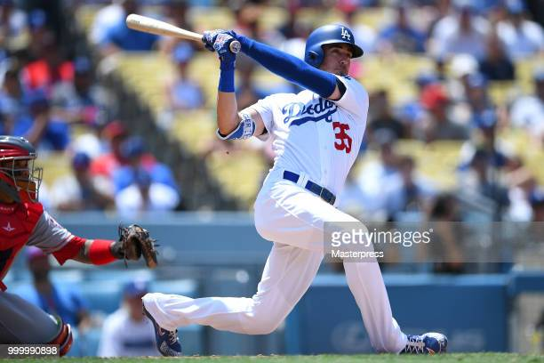 Cody Bellinger of the Los Angeles Dodgers at bat during the MLB game against the Los Angeles Angels at Dodger Stadium on July 15 2018 in Los Angeles...