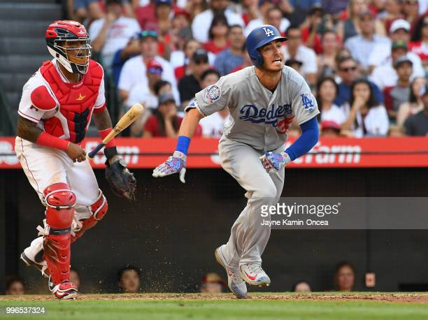 Cody Bellinger of the Los Angeles Dodgers at bat in the game against the Los Angeles Angels of Anaheim at Angel Stadium on July 8 2018 in Anaheim...