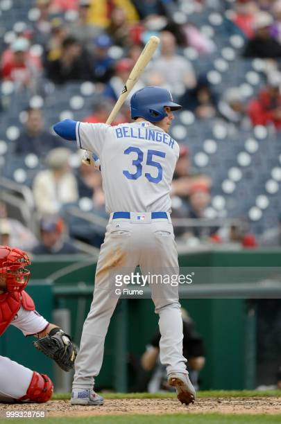 Cody Bellinger of the Los Angeles Dodgers bats against the Washington Nationals at Nationals Park on May 19 2018 in Washington DC