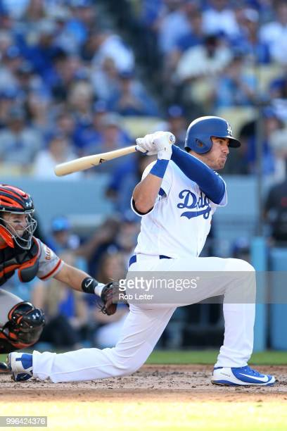 Cody Bellinger of the Los Angeles Dodgers bats during the game against the San Francisco Giants at Dodger Stadium on Thursday March 29 2018 in Los...