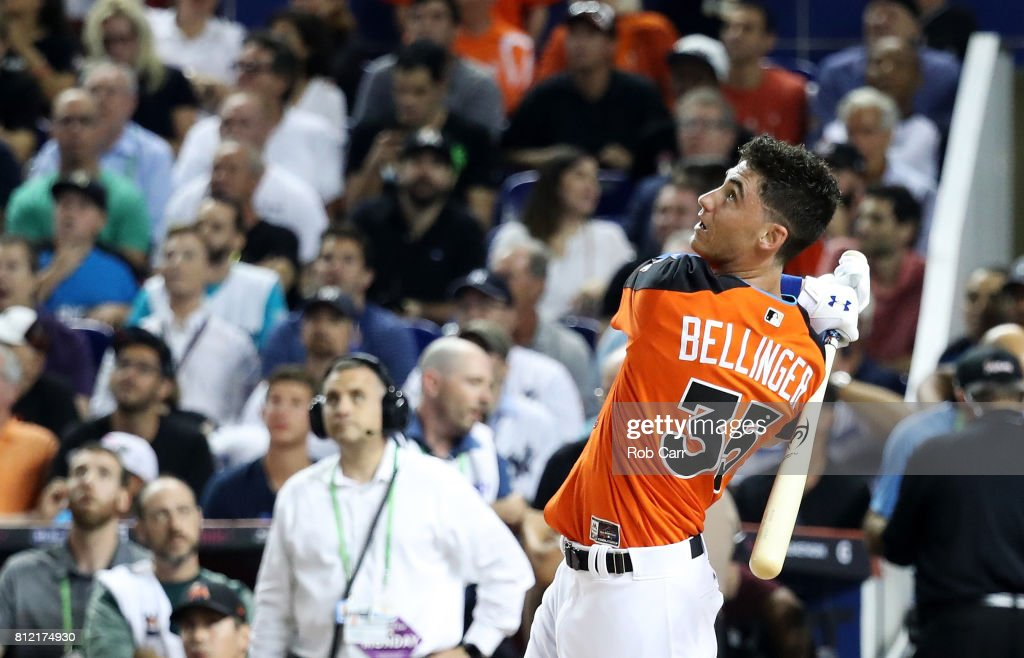 Cody Bellinger #35 of the Los Angeles Dodgers competes in the T-Mobile Home Run Derby at Marlins Park on July 10, 2017 in Miami, Florida.