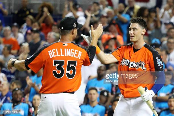 Cody Bellinger of the Los Angeles Dodgers competes in the TMobile Home Run Derby at Marlins Park on July 10 2017 in Miami Florida