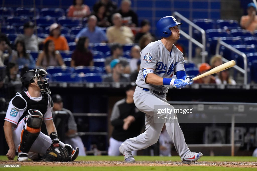 Cody Bellinger #35 of the Los Angeles Dodgers hits a home run in the ninth inning against the Miami Marlins at Marlins Park on May 15, 2018 in Miami, Florida.