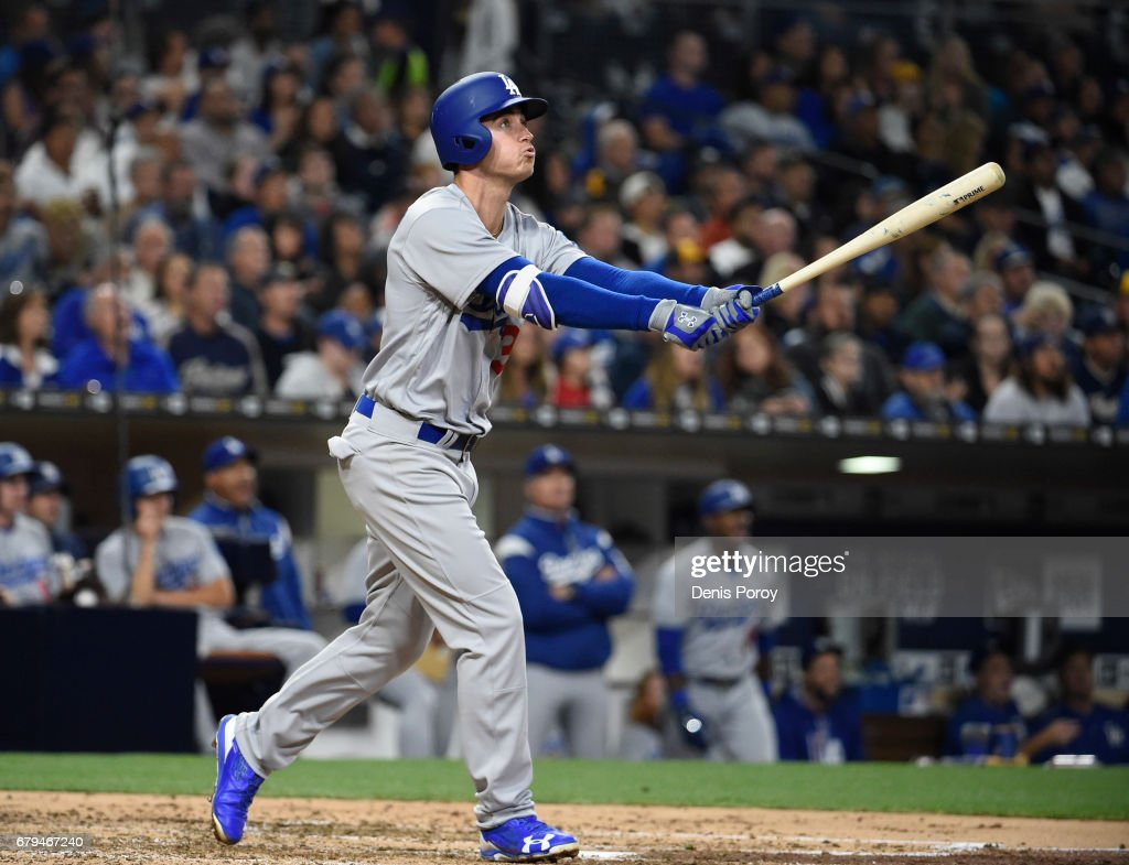 Cody Bellinger #35 of the Los Angeles Dodgers hits a solo home run during the fourth inning of a baseball game against the San Diego Padres at PETCO Park on May 5, 2017 in San Diego, California.