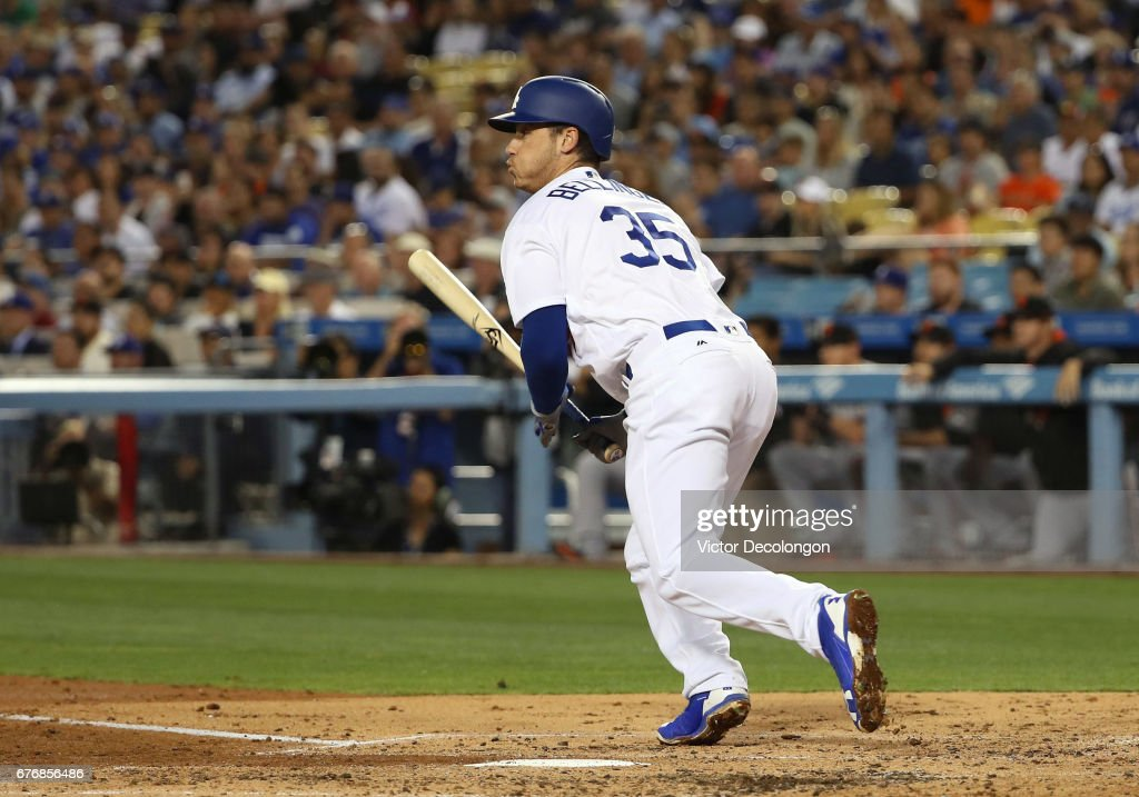 Cody Bellinger #35 of the Los Angeles Dodgers hits a three-run triple to left field during the second inning of the MLB game against the San Francisco Giants at Dodger Stadium on May 2, 2017 in Los Angeles, California.