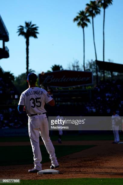 Cody Bellinger of the Los Angeles Dodgers in action during the MLB game against the Los Angeles Angels at Dodger Stadium on July 14 2018 in Los...