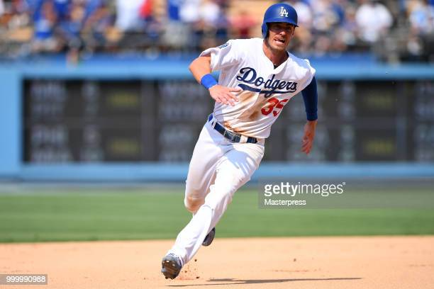 Cody Bellinger of the Los Angeles Dodgers in action during the MLB game against the Los Angeles Angels at Dodger Stadium on July 15 2018 in Los...