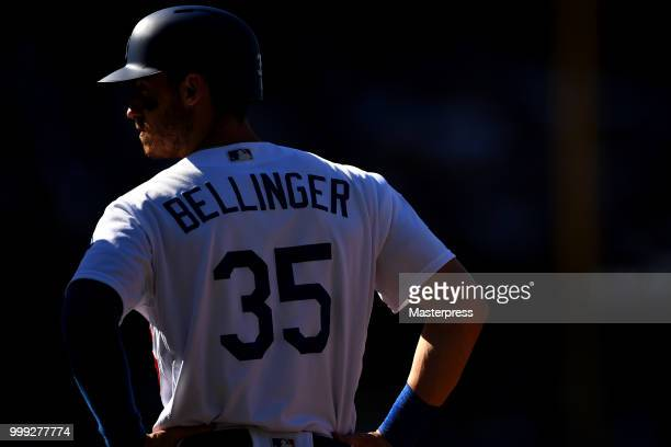 Cody Bellinger of the Los Angeles Dodgers looks on during the MLB game against the Los Angeles Angels at Dodger Stadium on July 14 2018 in Los...