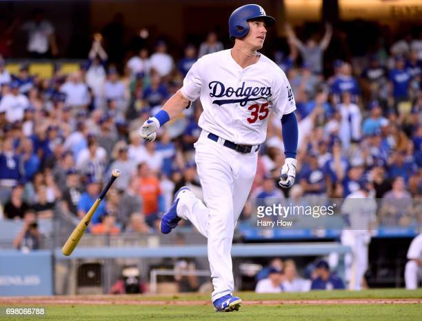 Cody Bellinger of the Los Angeles Dodgers reacts to his solo homerun his second homerun of the game to take a 70 lead over the New York Mets during...