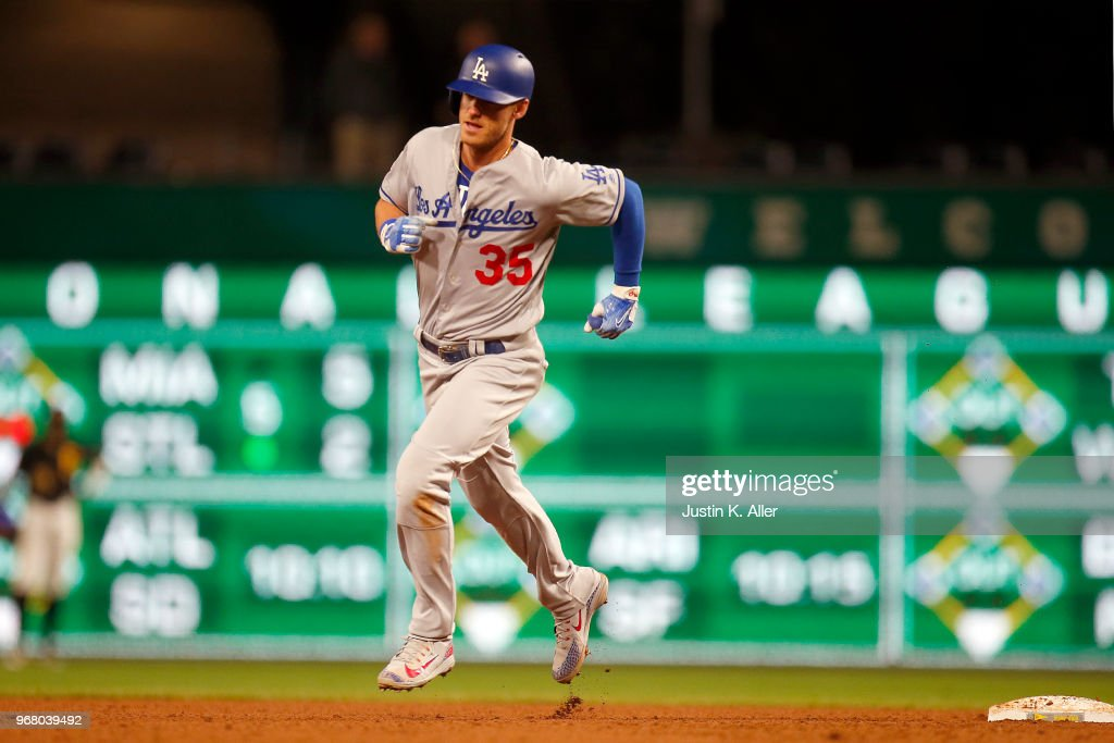 Cody Bellinger #35 of the Los Angeles Dodgers rounds second after hitting a home run in the sixth inning against the Pittsburgh Pirates at PNC Park on June 5, 2018 in Pittsburgh, Pennsylvania.
