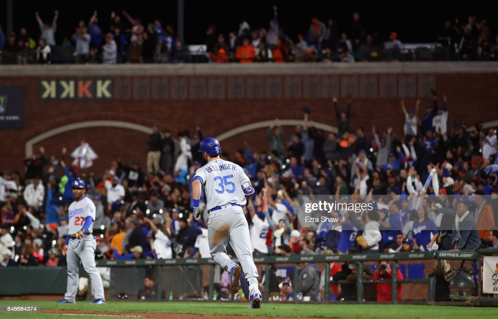 Cody Bellinger #35 of the Los Angeles Dodgers rounds the bases after hitting a home run in the fifth inning against the San Francisco Giants at AT&T Park on September 13, 2017 in San Francisco, California.