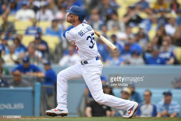 Cody Bellinger of the Los Angeles Dodgers watches his fourth inning home run against Trevor Williams of the Pittsburgh Pirates leave the park at...