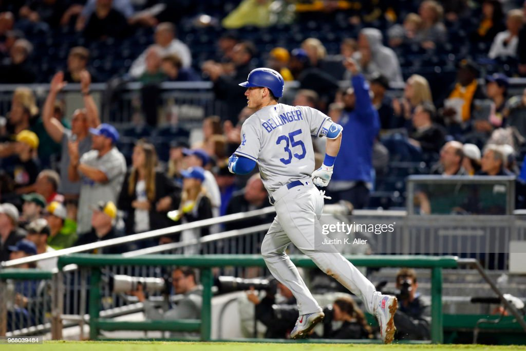 Cody Bellinger #35 of the Los Angeles Dodgers watches his home run in the sixth inning against the Pittsburgh Pirates at PNC Park on June 5, 2018 in Pittsburgh, Pennsylvania.