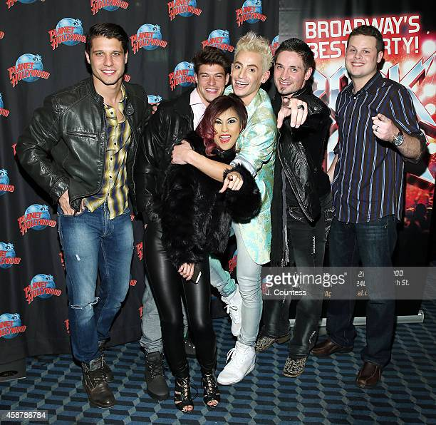 Cody Calafiore Ian Terry Paola Shea Actor/dancer Frankie J Grande Caleb Reynolds and Andy Herren of 'Big Brother' attend the afterparty for the debut...