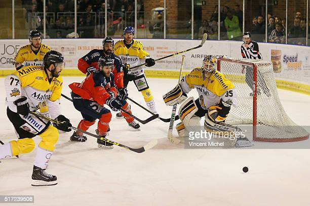Cody Campbell of Angers and Dany Sabourin of Rouen during the Ice hockey Ligue Magnus Final second game between Les Ducs d'Angers v Les Dragons de...