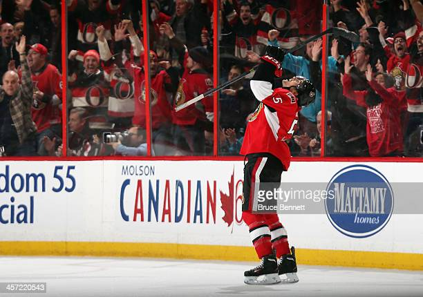 Cody Ceci of the Ottawa Senators celebrates his first NHL goal at 359 of overtime against the St Louis Blues at the Canadian Tire Centre on December...