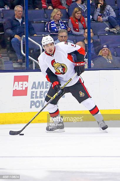 Cody Ceci of the Ottawa Senators controls the puck during the game against the Columbus Blue Jackets on October 28 2014 at Nationwide Arena in...