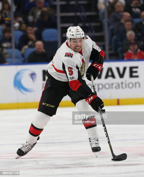 Cody Ceci of the Ottawa Senators during the game against the Buffalo Sabres at the KeyBank Center on December 12 2017 in Buffalo New York