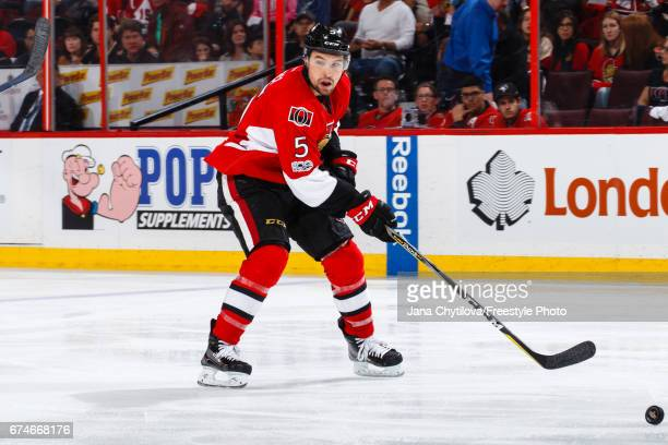 Cody Ceci of the Ottawa Senators skates after the puck against the New York Rangers in Game One of the Eastern Conference Second Round during the...