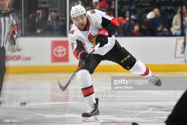 Cody Ceci of the Ottawa Senators skates against the Columbus Blue Jackets on December 31 2018 at Nationwide Arena in Columbus Ohio