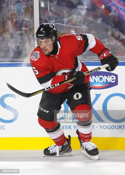 Cody Ceci of the Ottawa Senators skates against the Montreal Canadiens during the second period of the 2017 Scotiabank NHL100 Classic at Lansdowne...