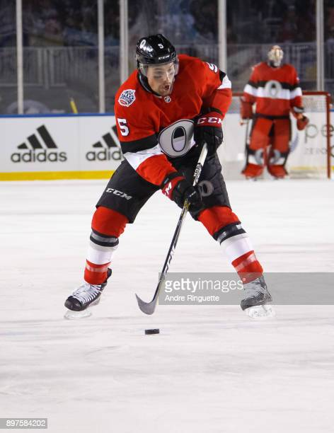 Cody Ceci of the Ottawa Senators skates against the Montreal Canadiens in the 2017 Scotiabank NHL100 Classic at Lansdowne Park on December 16 2017 in...