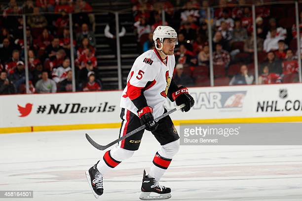 Cody Ceci of the Ottawa Senators skates against the New Jersey Devils at the Prudential Center on December 18 2013 in Newark New Jersey The Devils...