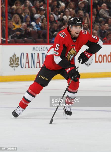 Cody Ceci of the Ottawa Senators skates against the Pittsburgh Penguins at Canadian Tire Centre on November 16 2017 in Ottawa Ontario Canada