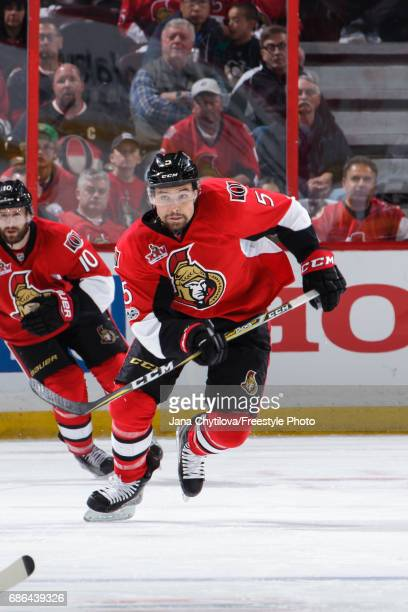 Cody Ceci of the Ottawa Senators skates against the Pittsburgh Penguins in Game Four of the Eastern Conference Final during the 2017 NHL Stanley Cup...