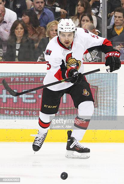 Cody Ceci of the Ottawa Senators skates against the Pittsburgh Penguins during the game at Consol Energy Center on April 13 2014 in Pittsburgh...