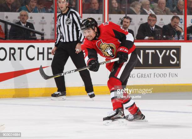 Cody Ceci of the Ottawa Senators skates against the San Jose Sharks at Canadian Tire Centre on January 5 2018 in Ottawa Ontario Canada