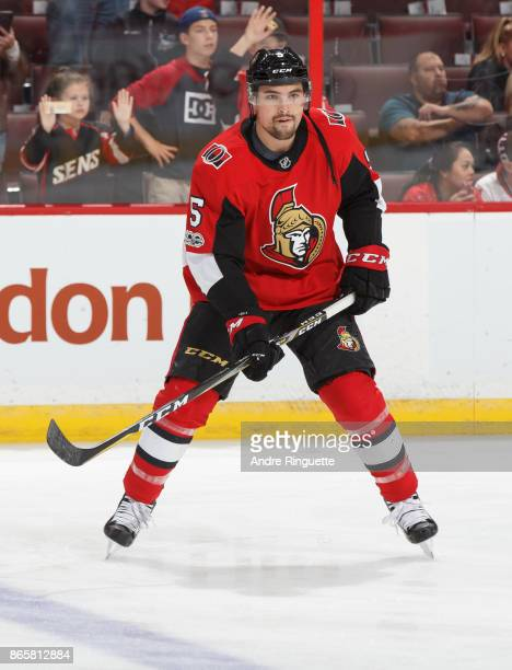 Cody Ceci of the Ottawa Senators warms up prior to a game against the New Jersey Devils at Canadian Tire Centre on October 19 2017 in Ottawa Ontario...