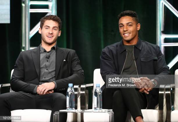 Cody Christian and Michael Evans Behling from All American speak onstage at the CW Network portion of the Summer 2018 TCA Press Tour at The Beverly...
